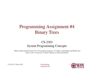 Programming Assignment #4 Binary Trees
