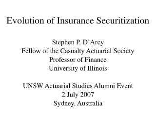Evolution of Insurance Securitization