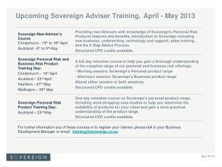Upcoming Sovereign Adviser Training, April - May 2013