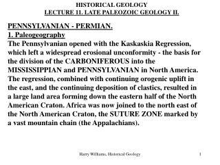 PENNSYLVANIAN - PERMIAN. 1. Paleogeography