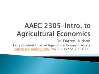 AAEC 2305-Intro. to Agricultural Economics