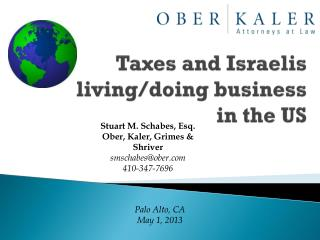 Taxes  and Israelis living/doing business  in  the  US
