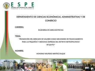 DEPARTAMENTO DE CIENCIAS ECONÓMICAS, ADMINISTRATIVAS Y DE COMERCIO CARRERA: