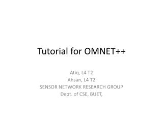 Tutorial for OMNET++