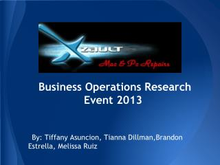 Business Operations Research Event 2013