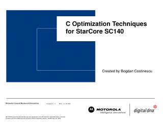C Optimization Techniques for StarCore SC140