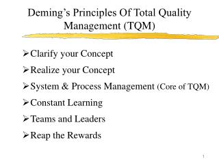 Deming's Principles Of Total Quality Management (TQM)