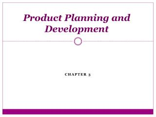 Product Planning and Development