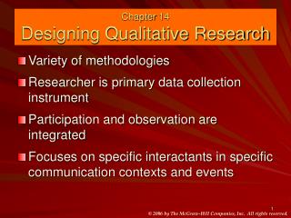 Chapter 14 Designing Qualitative Research