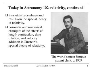 Today in Astronomy 102: relativity, continued