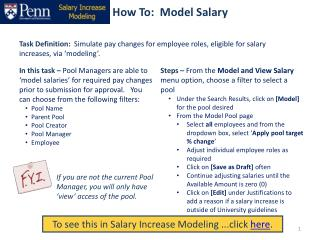 How To:  Model Salary