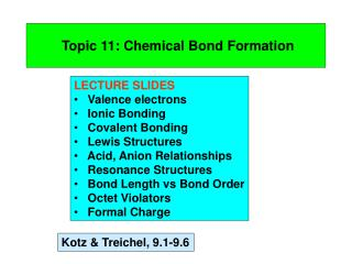 Topic 11: Chemical Bond Formation