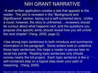 NIH GRANT NARRATIVE