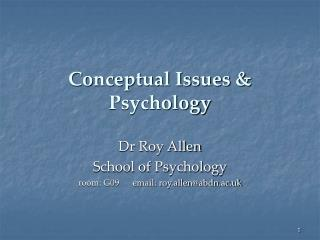 Conceptual Issues & Psychology