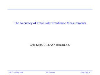 The Accuracy of Total Solar Irradiance Measurements