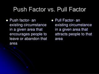 Push Factor vs. Pull Factor