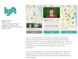 Website :  lyft Twitter:  @ lyft Category :  Travel and Tourism Competitors: Sidecar, Uber