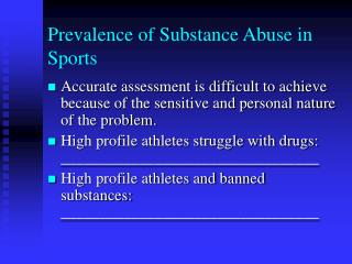 Prevalence of Substance Abuse in Sports