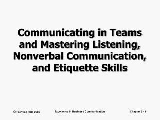 Communicating in Teams and Mastering Listening, Nonverbal Communication, and Etiquette Skills