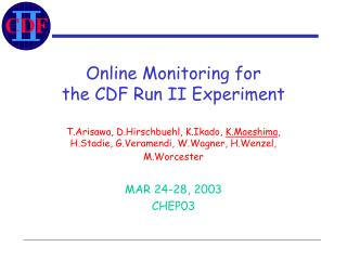 Online Monitoring for  the CDF Run II Experiment