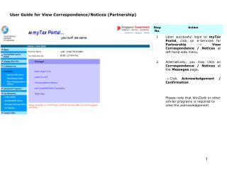 User Guide for View Correspondence/Notices (Partnership)