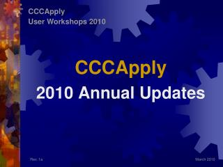 CCCApply 2010 Annual Updates