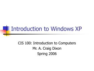 Introduction to Windows XP