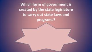 Which form of government is created by the state legislature to carry out state laws and programs?