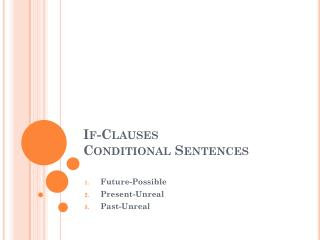 If-Clauses Conditional Sentences