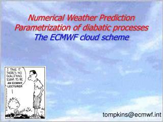 Numerical Weather Prediction  Parametrization of diabatic processes The ECMWF cloud scheme