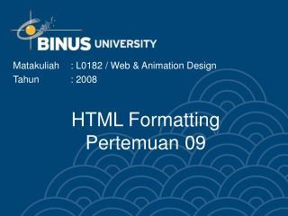 HTML Formatting Pertemuan 09