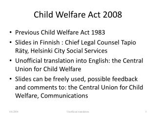 Child Welfare Act 2008