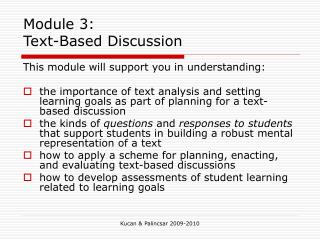 Module 3: Text-Based Discussion
