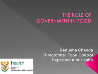 THE ROLE OF GOVERNMENT IN FOOD