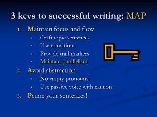 3 keys to successful writing:  MAP