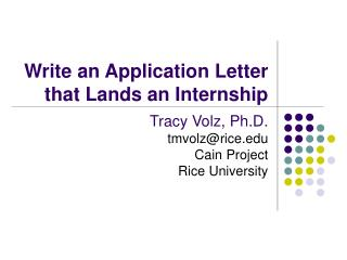 Write an Application Letter that Lands an Internship