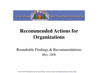 Recommended Actions for Organizations