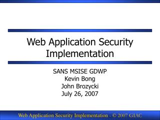 Web Application Security Implementation