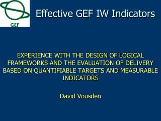 Effective GEF IW Indicators