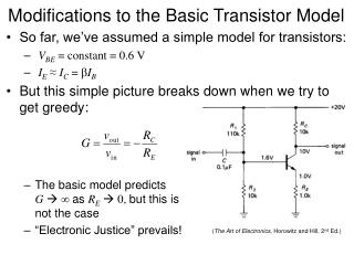 Modifications to the Basic Transistor Model