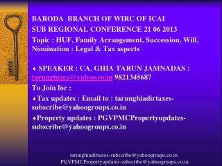BARODA  BRANCH OF WIRC OF ICAI SUB REGIONAL CONFERENCE 21 06 2013