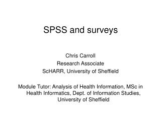 SPSS and surveys