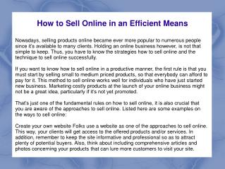 How to Sell Online in an Efficient Means