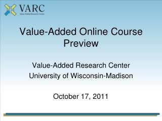 Value-Added Online Course Preview