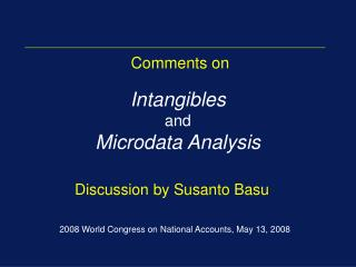Intangibles and Microdata Analysis