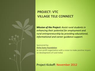 Project: VTC Village Tele Connect