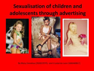Sexualisation of children and adolescents through advertising