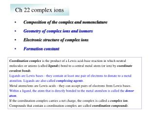 Ch 22 complex ions