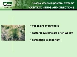 Grassy weeds in pastoral systems - CONTEXT, NEEDS AND DIRECTIONS