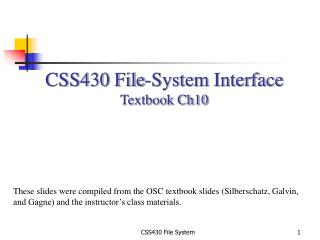 CSS430 File-System Interface Textbook Ch10
